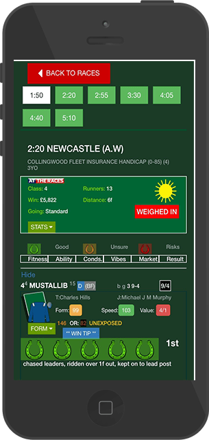 Horse racing mobile website